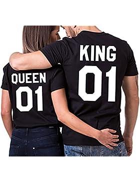JWBBU Pareja Camiseta Set Rey Reina 01 Impresión Hombres Mujer Casual Fashion Tops Tees, San Valentín Amante Pareja...