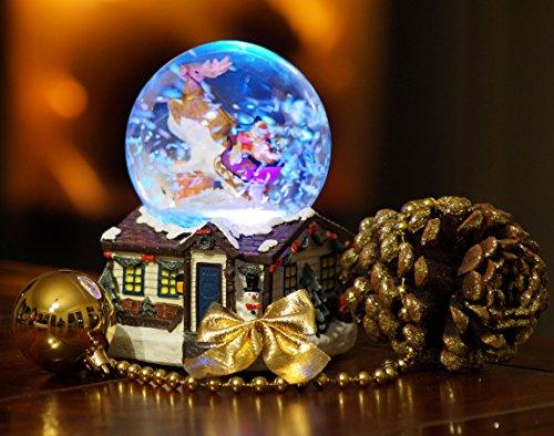 XL LED Schneekugel Weihnachten elektrischer Schneewirbel, viele Melodien und Farbwechsel Weihnachtshaus Glitzerkugel