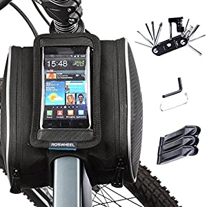Cycling Frame Pannier Cell Phone Bag, WOTOW Bike Front Top Tube Touchscreen Saddle Bag Rack Mountain Road Bicycle Pack Double Pouch Mount Phone Bags for Smartphone by WOTOW