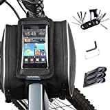 Pannier per biciclette + 14 in 1 kit utensile Borsa per cellulare Bicicletta Borsa Manubrio Bicicletta Tubo Superiore Anteriore Pannier della Struttura Borsa a Doppia Borsa Per Cellulare di 5,7 pollic