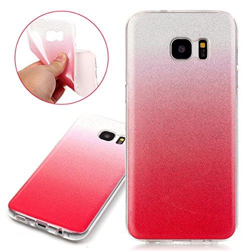 Coque Galaxy S7 Edge, Étui Galaxy S7 Edge, ISAKEN Coque Samsung Galaxy S7 Edge - Étui Housse Téléphone Étui TPU Silicone Souple Coque Ultra Mince Gel Doux Housse Motif Arrière Case Antichoc Doux Durab rouge