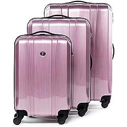 FERGÉ® Set 3 valises Voyage Rigide léger Dijon Ensemble de Bagages Trois pc 4 Roues Trolley 4 roulettes 360 degrés Bagage Cabine Pink