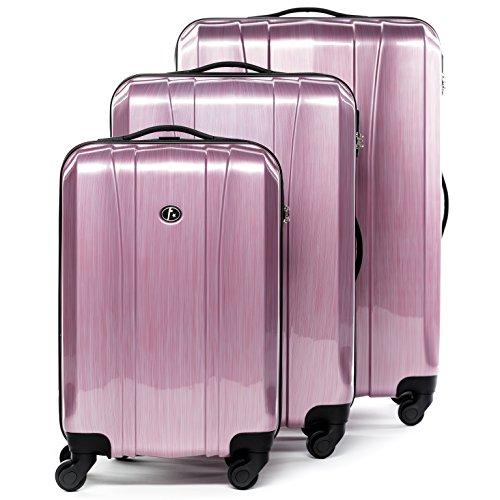 FERGÉ set di 3 valigie viaggio Dijon - bagaglio rigido dure leggera 3 pezzi valigetta 4 ruote girevole rosa