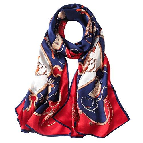 GHRRI Damenschal, Herbstlicher Seidenschal Satin Seide Lange Geschenk Schal Shawl, Dual-Use, H -