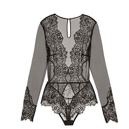 Masterein Frauen Damen Clubwear V-Neck Playsuit Bodycon Bodysuit Lange Spitze Ärmel Plus Size Transparent Lace Bodysuit schwarz XL