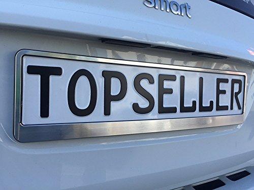 2 x gebürstet Nummernschildhalter Chrom gebürstet Autozubehör Auto (Chrom) Silber -