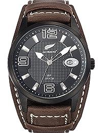 All Blacks - 680296 - Montre Homme - Quartz Analogique - Cadran Noir - Bracelet Cuir Marron