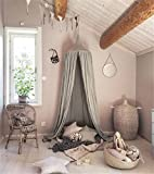 Dome Princess Bed Canopy, Cotton Mosquito Net Kids Play Tent Curtains Room Decoration for Baby Indoor Outdoor Playing Reading Height 240cm (Grey)