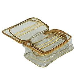Kuber Industries Multi Purpose Kit , Make Up kit, Travelling Organiser, Cosmetic Organiser Set Of 3 Pcs (Golden)-KI3356