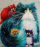 YEESAM ART Neuheiten Malen nach Zahlen Erwachsene Kinder, Vier Persische Katzen, Kätzchen 40x50 cm Leinen Segeltuch, DIY ölgemälde Weihnachten Geschenke