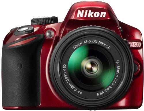 Nikon D3200 SLR-Digitalkamera (24 Megapixel, 7,4 cm (2,9 Zoll) Display, Live View, Full-HD) Kit inkl. AF-S DX 18-55 VR II Objektiv rot - Flash-kit Für D3200 Nikon