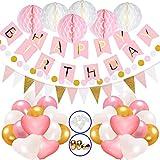 Hook Geburtstagsdeko, Deko Geburtstag Set für Mädche Jungen Frauen, Happy Birthday Girlande Ballon mit Wabenbälle Papier, Kindergeburtstag Deko / Geburtstag Dekoration Luftballons Rosa Weiß Pink Gold
