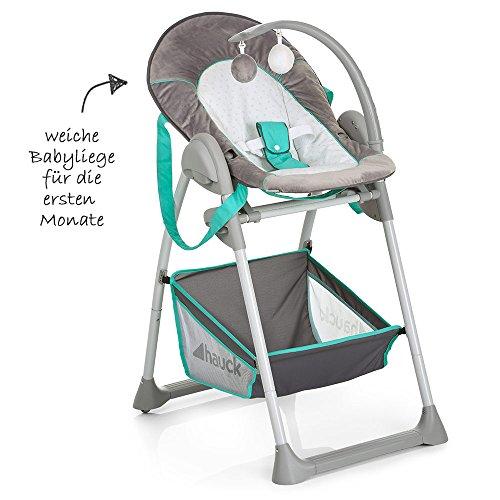 Hauck Trona Sit'n Relax Hearts - Silla para bebé desde el nacimiento con bandeja y cesto, convertible en mecedora, altura ajustable, color gris