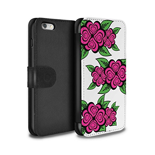 Stuff4 Coque/Etui/Housse Cuir PU Case/Cover pour Apple iPhone 6 / Blanc/Turquoise Design / Roses Coeur Amour Collection Blanc/Rose