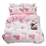 ED-Lumos 4 teilig Bettgarnitur Bettwäsche Set Bettbezug Betttuch Kopfkissenbezug Baumwolle rosa Flamingo 220 cm x 240 cm