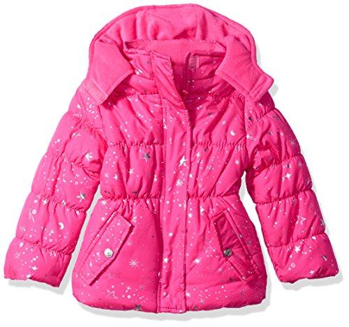 Pink Platinum Toddler Girls' Super Star Foil Puffer, Pink Glow, 2T (Print Animal Trench Coat)