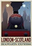 London- Scotland Hogwarts Express Retro Travel Poster Poster Print, 34x49 cm