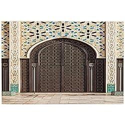 KOTOM esteras de baño marroquíes, puerta de la puerta clásica flor ornamental cueva en pared de mármol franela alfombra de baño alfombra de baño antideslizante máquina lavable alfombras de puerta suave alfombras para niños habitaciones 40x60 cm