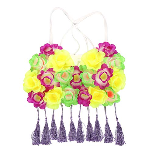 Amosfun Hawaii Grass Dance Kostüm Tuch Tropical Flower Performance Kleidung für Mädchen Frau Dame (Lila, Gelb und Grün)