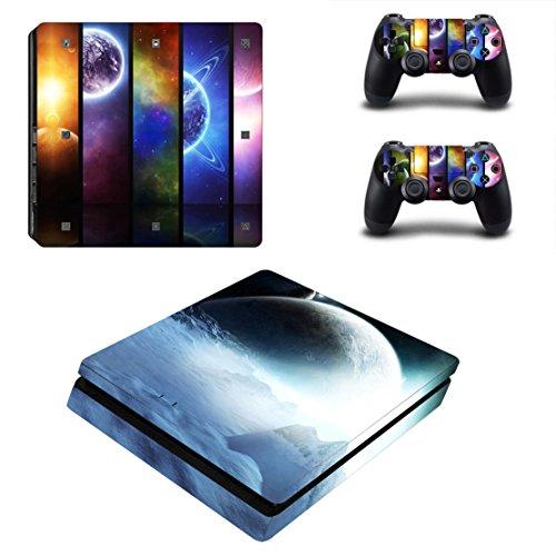 Stillshine PS4 Slim Pelli Vinile Adesivi Skin Sticker Giochi Playstation 4 Slim Sistema & Due Decalcomanie del Dualshock Controller (Colour Earth)