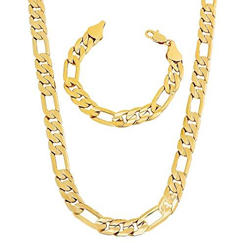mens-93mm-gold-plated-flat-figaro-link-50-cm-chain-8-bracelet-set