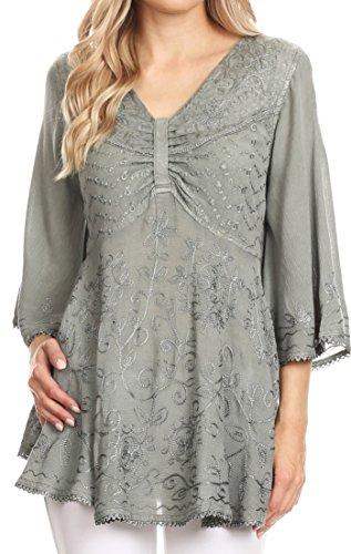Sakkas 1667 - Valeria Damen V-Ausschnitt Bohemian Ethnic Casual Flare Bluse Top Bestickt - Grau - M