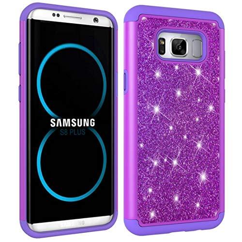 Beddouuk Samsung Galaxy S8 Plus Hülle,Galaxy S8 Plus Bling Schutzhülle,Dünn [Dual Layer] Hybrid Case PC und Gummi Backcover Handyhülle Kratzfest Silikon TPU Schale für Samsung S8 Plus Hülle-Lila