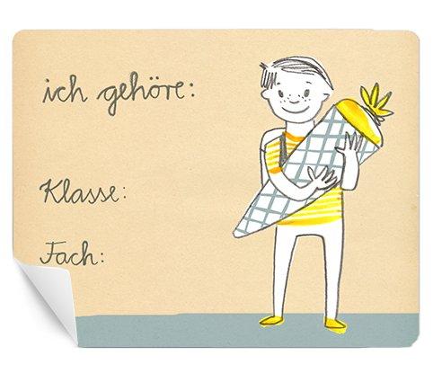 Eine der Guten 30 rechteckige Namensaufkleber: ich gehöre - Namensschild für Jungen zum Beschriften für Schule & Schulanfang, Retro Vintage, Creme Blau