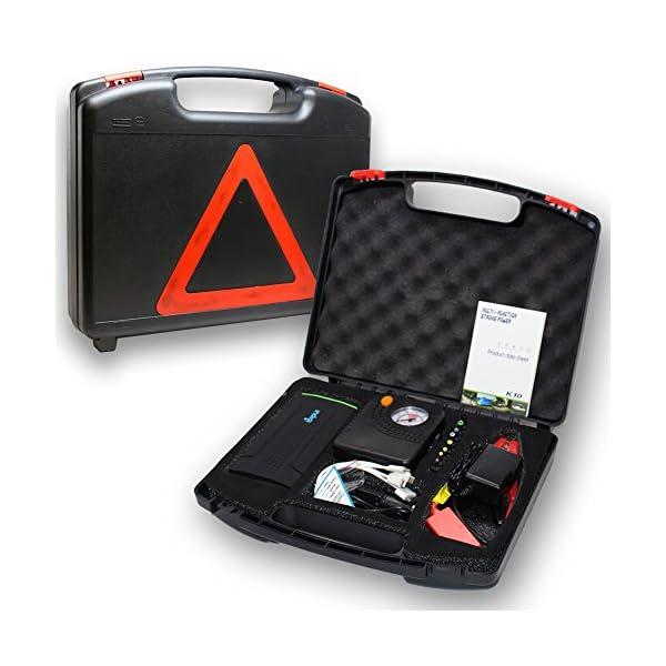 inDigi® Heavy Duty 12800mAh USB 12V Emergencia Salto de Arranque Banco de la energía Soporte de Compresor de Aire del neumático w/Durable Duro Caso Kit