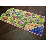 Antideslizante para niños ropa de descanso para niñas World alfombra de juegos tamaño grande de carretera/alfombra 100 cm x 190 cm