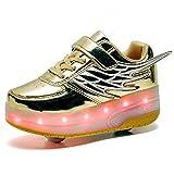 LED Blinkend Schuhe mit Doppelt Rollen Automatisch Einziehbar Räder Skateboardschuhe Outdoor Fitnessschuhe mit Flügel USB Aufladbar 7 Farbwechsel Rädern Gymnastik Laufschuhe Sneaker für Jungen Mädchen
