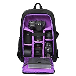 Huntvp Camera Backpack Dslr Slr Camera Rucksack Large Waterpoof Anti-shock Smart Photography Video Bag With Rain Cover(size 30*16*43cm) Purple