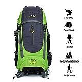 Gshopper Mochila de Viaje 70L Senderismo Ligera Impermeable para Marcha Trekking Camping Montaña Escalada Green