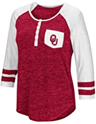 "Oklahoma Sooners NCAA Women's ""Inconceivable"" 3/4 Sleeve Henley Shirt Chemise"