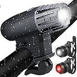 Fahrradlichter Set, Fahrradlicht USB Aufladbar Fahrradlampe LED Set Frontlicht & Rücklichter IPX65 Wasserdicht 4 Licht-Modi 1 USB-Kabel Fahrrad Licht für Radfahren,Wandern,Laufen,Walking,Camping