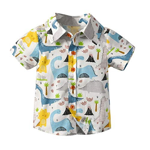 Zylione Jungen Shirt Kinder Baby LäSsig Kurzarm Cartoon Animal Print Gentleman Shirt (Cool Cartoon Zeichen Kostüme)