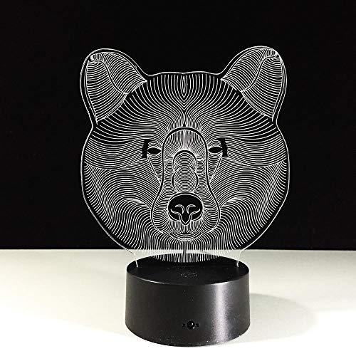 LXXYD 3D Visuelles Licht Optische Täuschung Führt Led Acryl Bär Gesicht Nachtlicht Touch 7 Farbwechsel Usb3D Lampe Baby Raum Lichter Weihnachtsgeschenk (Wars Baby-raum Star)