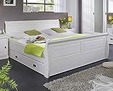Main Möbel Bett Mailand-Weiß 180x200cm Kiefer weiß