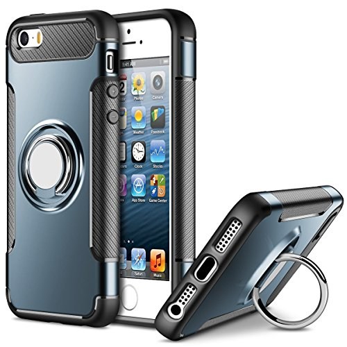 Custodia per iPhone 5 / 5S / SE Magnetica Cerchio Ring Holder Cover, Mosoris Multiuso TPU+PC Dual Layer Protettiva Caso Case con Anello Grip Holder Supporto Posteriore 360 Grado Rotazione Kickstand Cavalletto Stander & Supporto Auto Magnetico Bumper