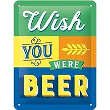 Nostalgic Art 26229Wish You Were Beer | retro targa in metallo Metallo | Decorazione da parete | | 15x 20cm | Vintage, Multicolore, 15x 20x 0.2cm