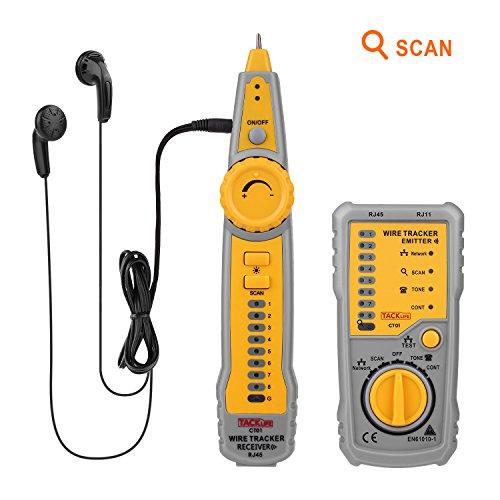 Tacklife CT01 Rilevatore di Cavi Elettrici Multifinder per Linee Senza Tensione Rileva le Interruzioni dei Cavi / Collegamento per Cuffie / Diverse Tonalità D'avviso con Recettore e Trasmettitore