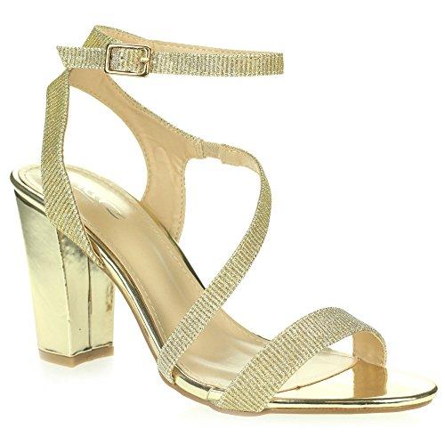 Femmes Dames Diamante Soir Mariage Fête Bal de promoHaute Bloquer le talon Enveloppe à la cheville Des sandales Chaussures Taille Or