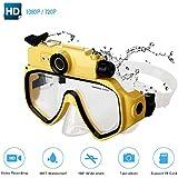 Diving Mask Camera Goggle - Full HD 1080P/720P - 30M Underwater Waterproof Removable Camera -Loop Recording - Digital Diving Sports Camera Glasses (Yellow)
