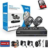 SANNCE 4CH 960H DVR Recorder Security Cameras System with 2x 900TVL Bullet Cameras and 1TB HDD