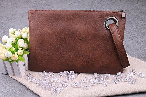 Swallowuk Frauen Leder Mode Handtaschen Retro Umschlag-Paket Handtaschen braun