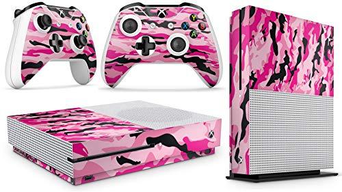 giZmoZ n gadgetZ GNG Xbox One S Konsolen-Gehäuseaufkleber, Motiv: PINK CAMO inklusive 2er-Set mit Aufklebern für Controller