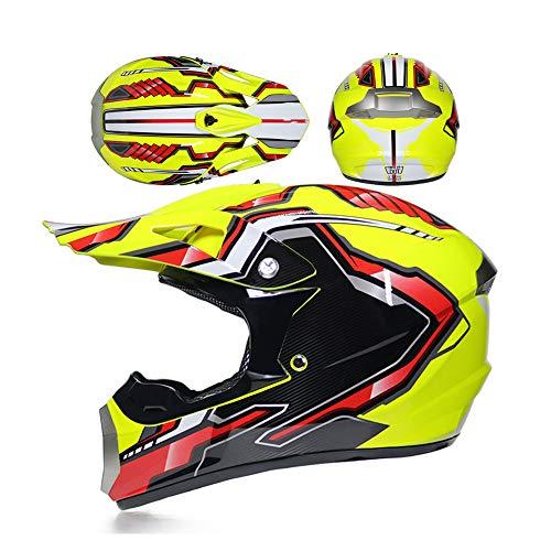 LEENY Casco di Motocross - Motocicletta Caschi da Cross Quattro Stagioni Unisex, Casco da Moto off-Road Enduro Quads Motociclo Motorbike Casco Cross per Adulti Uomini Donne,Yellow*Red,S