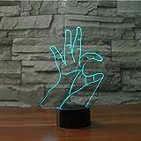XIAOYEDENGXIN7 Colori cambiano i gesti di schiocco 3D Lampada da Tavolo Cuore Lingua Notte Luce Sogno Camera da Letto Illuminazione Decorazione Regalo