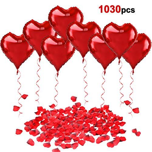 Howaf 30 pezzi grande palloncini forma di cuore foil air balloons e ribbon, 1000 pezzi rosso seta petali di rosa per matrimoni, anniversari, san valentino decorazioni e regalo per lui o lei