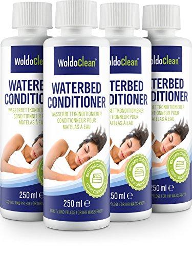 WoldoClean Wasserbett Conditionierer geeignet für alle Wasserbetten - 4X 250ml Conditioner mit hohen Wirkstoffgehalt von 9,8g pro 100ml Pflege Zubehör & Reinigung für Wasser Betten